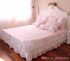 pink ruffle princess cotton duvet cover wedding bedding set