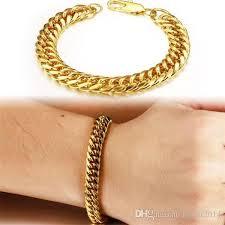cuban chain bracelet images Discount vintage man bracelets 18k real gold plated cuban chain jpg