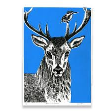 deer u0026 kingfisher blue limited edition screen print perkins and