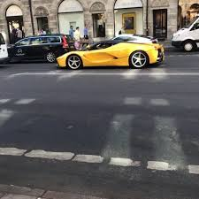 gold ferrari laferrari zlatan ibrahimovic spotted driving his ferrari laferrari in