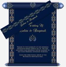 hindu marriage invitation card blue gold email wedding scroll