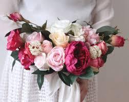 Artificial Flower Bouquets Silk Flower Bouquet Etsy
