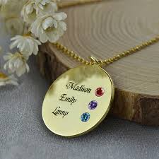 Personalized Family Necklace Plated Round Disc Engraved Personalized Family Necklace With