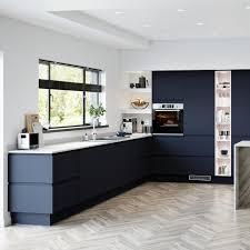 white gloss kitchen doors integrated handle blue kitchen ideas blue kitchen designs howdens