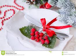 christmas and new year holiday table setting celebration place