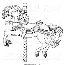 clip art of a carousel horse on a spiraling pole on a white