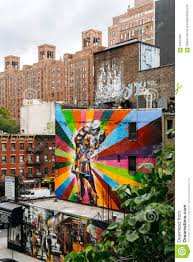Mural Artist by Mural From Artist Kobra In Chelsea Viewed From High Line