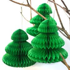 3 small green honeycomb tissue paper trees pipii
