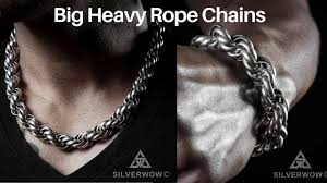 silver rope chain bracelet images Silver rope chain necklace chunky rope bracelets big thick jpg
