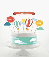 air cake topper cake topper set cake decorations printable diy hot air