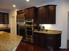 Cherry Espresso Cabinets Friendly Feature Santa Cecilia Granite Kitchen Stuff