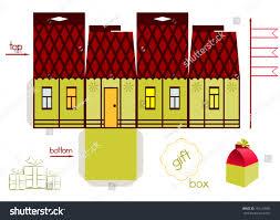 template fairy tale house gift box stock vector 192129689