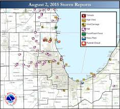 Chicago Illinois Map by August 2 2015 Severe Weather Event