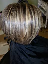 weave for inverted bob chunky blonde highlights chunky lowlights on a short inverted bob