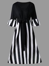 plus size striped tie belt tea length dress in black stripe 5xl