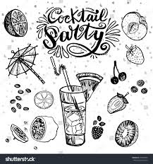 hand drawn lettering cocktail party fresh stock vector 654908950
