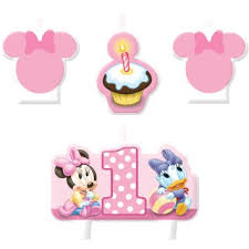 baby minnie mouse 1st birthday buy baby minnie mouse 1st birthday mini molded candles 4ct party