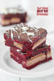 red velvet milky way brownies confessions of a cookbook queen