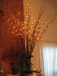 Branches With Lights Decorating Battery Lighted Branches With Blue Glass Vase For Home