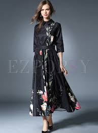 maxi dress with sleeves half sleeve print stand collar vintage maxi dress ezpopsy