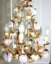 Birdcage Chandelier Shabby Chic Italian Tole Chandelier Hand Painted Pink Roses Regency Shabby