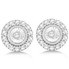 white gold earrings studs set cluster halo diamond earrings studs 14k white gold 0 14ct