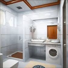 Washing Machine On Laminate Floor Cream Motif Fur Mat White Washbasin With Mirror Square Door Gray