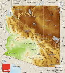 Map Of United States Physical Features by Physical Map Of Arizona Shaded Relief Outside