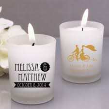 wedding candle favors rustic style personalozed frosted glass candle favor