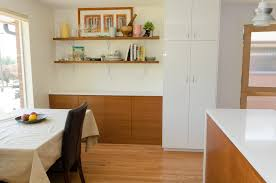 mid century modern kitchen design ideas interior white refrigerator with white wall and floating wall