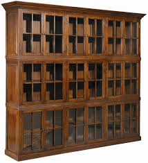 Wooden Bookcase With Glass Doors Large Brown Wooden Bookshelves With Glass Doors And Small Knobs Of