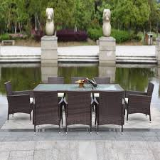 metal patio furniture set ikayaa 9pcs rattan outdoor patio dinning table set cushioned sales