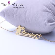 sterling silver nameplate necklace gold color name necklace with cat heart deco personalized 925