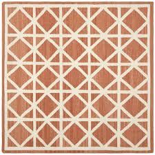 Square Wool Rug Safavieh Hand Woven Moroccan Reversible Dhurrie Red Ivory Wool