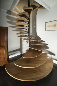 Unique Stairs Design Oak Spiral Staircase With Metal Backbone