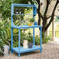 Wooden Potting Benches Blue Wood Potting Bench With Garden Tool Hanging Trellis And