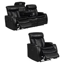 Sofa And Recliner Smart Tech Bluetooth Power Reclining Black Sofa And Recliner Chair