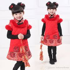 2018 2018 New Year Baby Girls Clothes Chinese Style Vest Dress