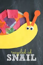 recycled cd snail kid craft make and takes