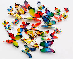 2016 new 12pcs diy colorful decal 3d butterfly wall sticker art