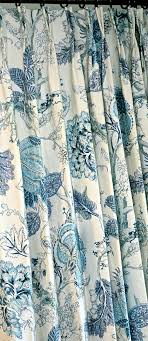 Blue Floral Curtains Blue Floral Curtains Linen Curtains Floral Pattern Custom