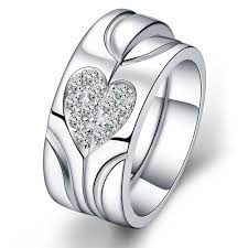 love rings silver images Love heart sterling silver cz 18k gold plated rings matching jpg