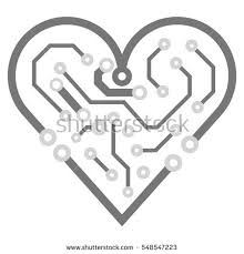 Circuit Board Business Card Vector Circuit Board Background Heart Valentine Stock Vector