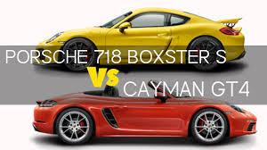 porsche cayman s vs boxster s 2017 porsche 718 boxster s vs cayman gt4 exterior interior drive