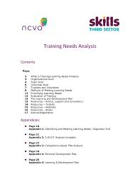 training needs analysis template training needs analysis for