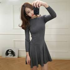 Long Sleeve Black Fit And Flare Dress Online Get Cheap High Neck Long Sleeve Knit Flare Dress
