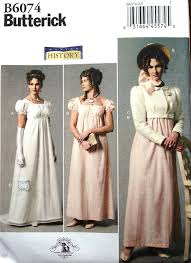 Butterick Halloween Costume Patterns Butterick B6074 Regency Dress Jacket Hat Jane Austen Style Costume