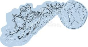 santa claus sleigh reindeer gifts around the world drawing stock