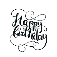 happy birthday card with hand drawn lettering on background
