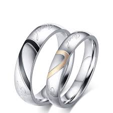 wedding bands for couples titanium steel half heart simple circle real ring for